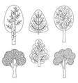 black outline tree digital stamps vector image