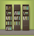 brown wooden bookcases vector image vector image