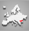 bulgaria country location within europe 3d map