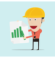 Business man and engineer show positive bar graph vector image vector image