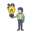 businessman with bulb gears vector image vector image