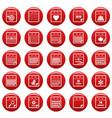 calendar icons set vetor red vector image vector image