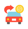 car with arrow and coin for cash bank vector image
