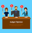 cartoon judges jury characters card poster vector image vector image