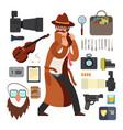 cartoon surveillance detectives with equipment vector image vector image