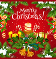 christmas poster with new year holiday garland vector image vector image
