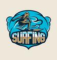 colorful logo emblem sticker surfer girl is vector image vector image