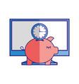 computer piggy bank clock time vector image vector image