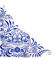 corner blue pattern with birds and flowers in the vector image vector image