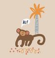 cute cartoon monkey childish vector image vector image