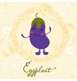 Cute eggplant character vector image