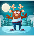 cute funny bear deer animal vector image