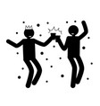 dancing man black silhouette smile dark outline vector image vector image