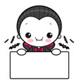 dracula character is holding a board halloween vector image vector image