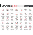 ecology flat line icon set of vector image