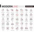 ecology flat line icon set vector image