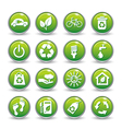 ecology web icons green buttons icon set vector image vector image