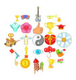 enjoyment icons set cartoon style vector image vector image