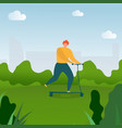 flat cartoon man riding on kick scooter in park vector image