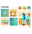 flat tailoring infographic template vector image vector image