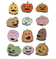 funny halloween pumpkins set graphic vector image