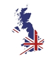 great britain map and flag icon vector image vector image