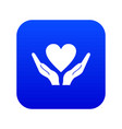 hands holding heart icon digital blue vector image vector image