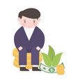 happy businessman sitting on coins money business vector image