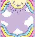 happy sun with beauty rainbow and clouds vector image