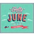 Hello june typographic design vector image vector image
