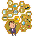 honeycomb structure with interface icons vector image vector image