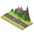 isometric countryside summer road family cycling vector image vector image