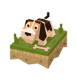 isometric flat dog on tile of ground vector image vector image