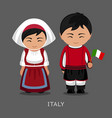 italians in national dress with a flag vector image vector image