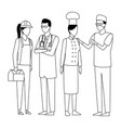 jobs and professions avatar in black and white vector image vector image