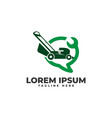 lawn mower service online chat logo icon vector image vector image