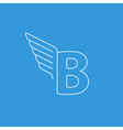 Letter B logo with wings in thin lines vector image vector image