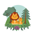 lions family cute animals cartoons vector image