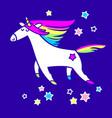 magic unicorn in starry sky vector image vector image