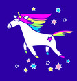 magic unicorn in the starry sky vector image