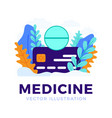 medicine tablet with credit card stock isolated vector image