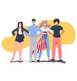 mix race people in masks standing together labor vector image vector image