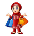 muslim girl holding shopping bag wearing red cloth vector image