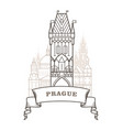 prague city skyline - powder tower in prague vector image vector image