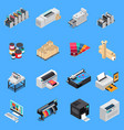 printing house isometric set vector image