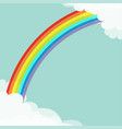 rainbow in the sky fluffy cloud in corners frame vector image vector image