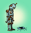 robot and broken phone screen vector image vector image