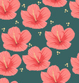 Seamless pattern of tropical pink hibiscus flowers vector image vector image