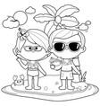 senior couple on an island vacation vector image vector image