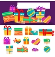 set different colorful gift boxes vector image vector image
